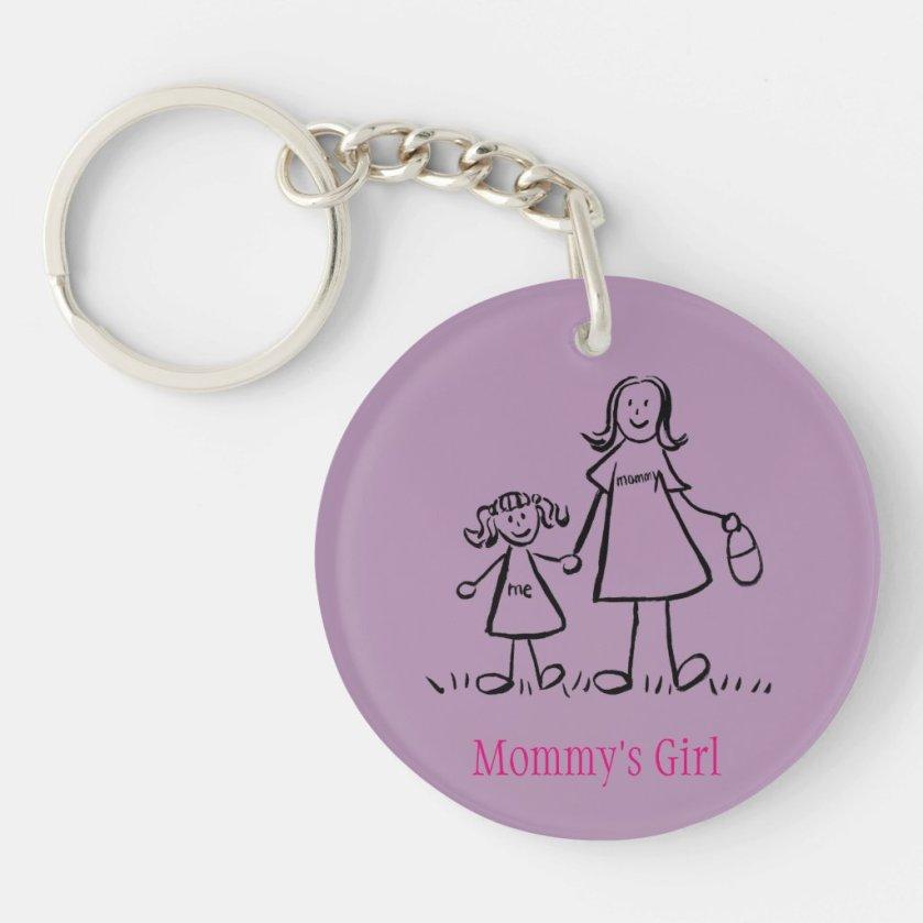 Mommy's Girl Family Art Characters Custom Keychain