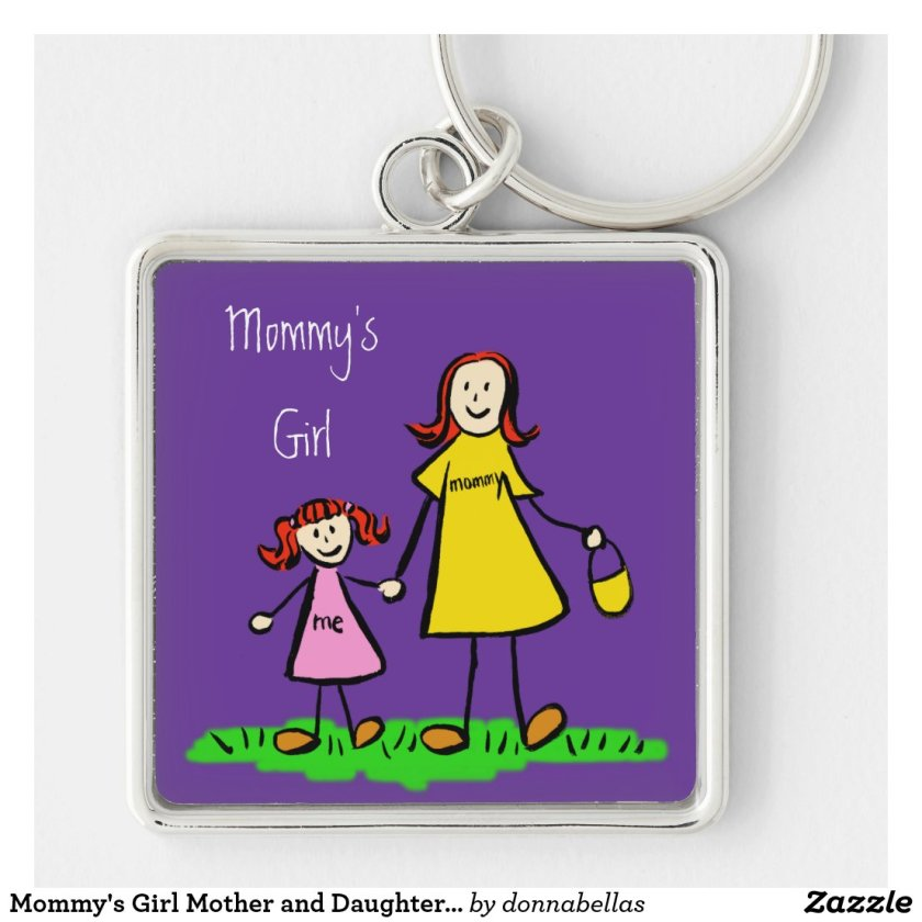 Mommy's Girl Mother and Daughter Family Keychain