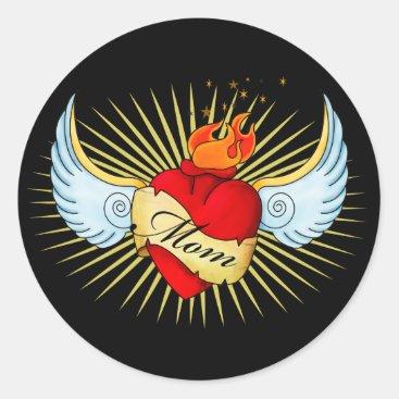 Mom's Heart Classic Round Sticker