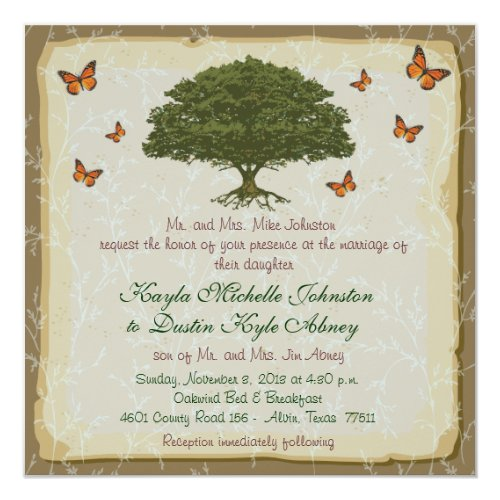 Monarch and Oak Tree Rustic Wedding Invitations