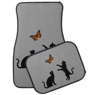 Monarch Butterfly With Cat Silhouettes Car Mat