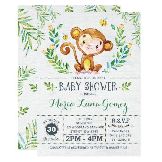 Monkey Baby Shower Jungle Boy Invitation