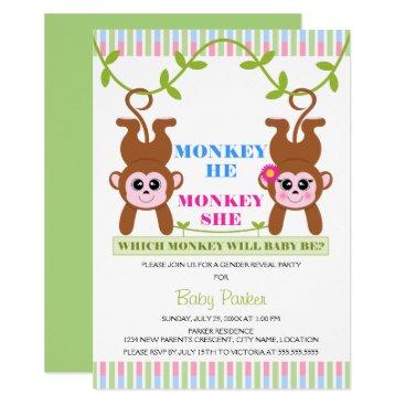 Monkey He Monkey She Gender Reveal Party Card