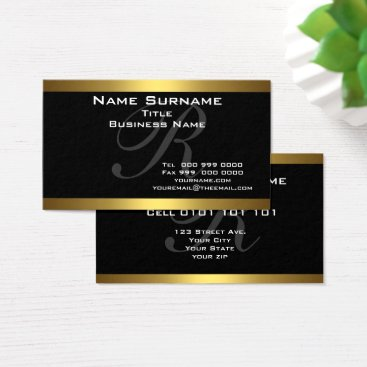 Monogram Black and Gold Business Cards