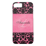 Monogram Black and Pink Damask iPhone 7 Case