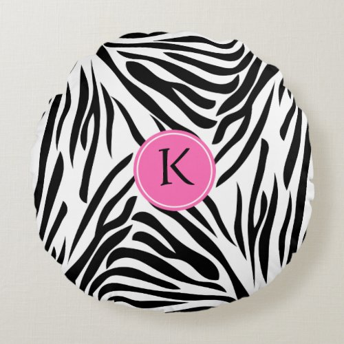 Monogram Black and White Zebra Print with Hot Pink Round Pillow