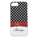 Monogram Black Red White Polka Dot iPhone 7 Case