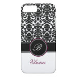 Monogram Black, White, Plum Damask iPhone 7 Case