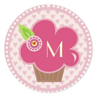 Monogram Cuppycake Cutie Sticker