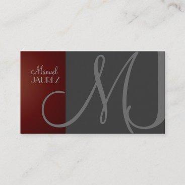 MONOGRAM En Retro colors/Graphite Maroon Business Card