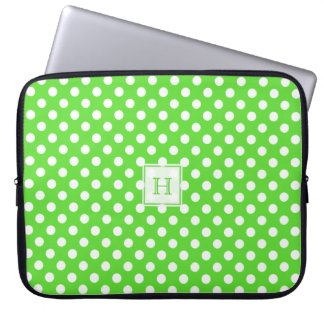 Monogram Green With White Polka-Dots Laptop Sleeve