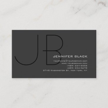 Monogram Grey Black Consultant Business Card