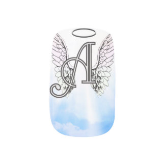 Angel Alphabet A Initial Latter Wings Halo Minx Nail Art