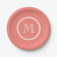 Monogram Initial Coral Pink High End Colored 7 Inch Paper ...