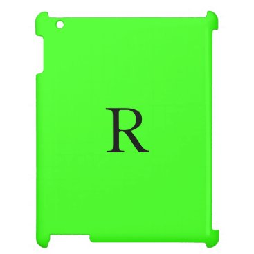 Monogram Initial Neon Green Solid Color Cool Case For The iPad
