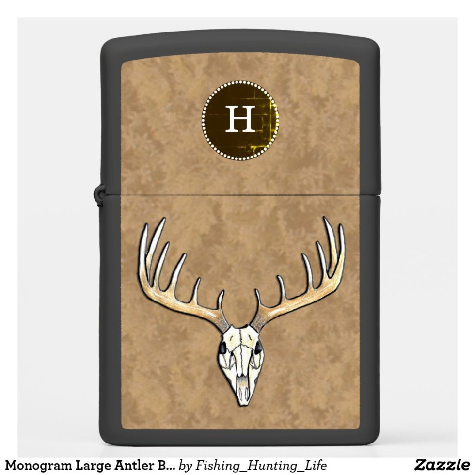 Monogram Large Antler Buck Deer Hunting Zippo Lighter
