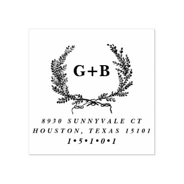 Monogram Laurel Wreath Return Address Stamp