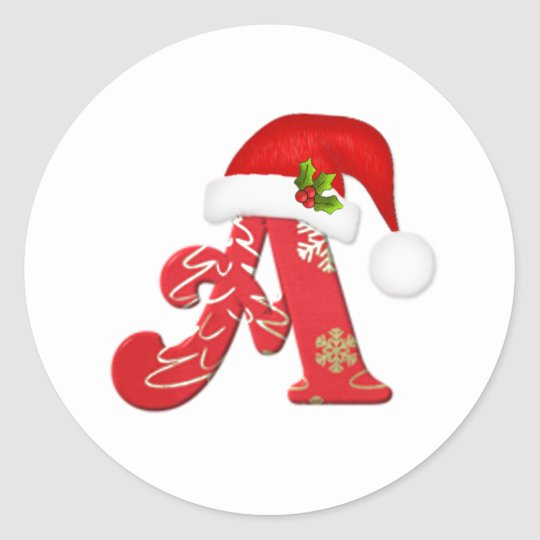 Monogram Letter A Santa Hat Christmas Sticker