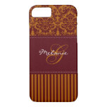 Monogram Orange, Wine Damask Stripe iPhone 7 Case
