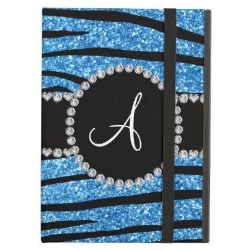 Monogram pastel blue glitter zebra stripes circle cover for iPad air