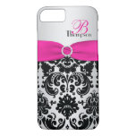 Monogram Pink, Black, Silver Damask iPhone 7 Case