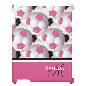 Monogram Pink Black Soccer Ball Pattern Case For The iPad