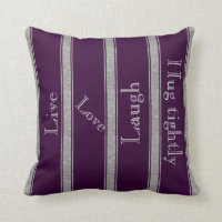 Monogram Purple & Silver Glitter Striped Pillow