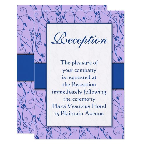 Monogram Royal Blue Lilac Swirl Wedding Invitation