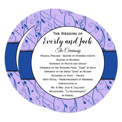Monogram Royal Blue Lilac Swirl Wedding Program