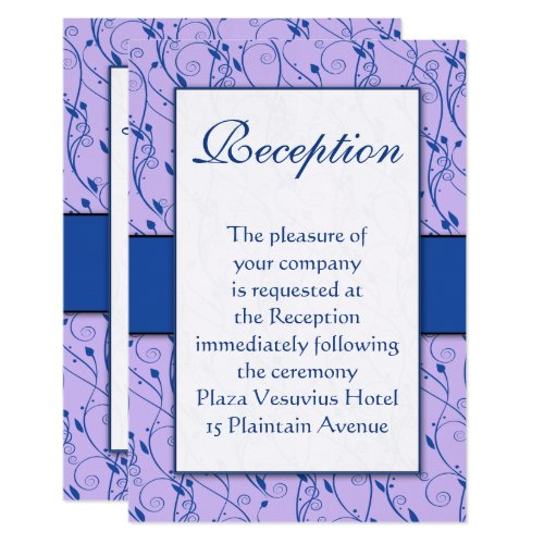 Monogram Royal Blue Lilac Swirl Wedding Reception Invitation