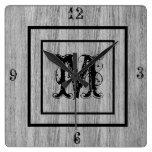 Monogram Rustic Grey Wood look Distressed Square Wall Clock