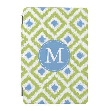 Monogrammed Blue Green Diamond Ikat Pattern iPad Mini Cover