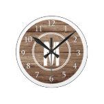 Monogrammed Brown White Distressed Wood Round Clock