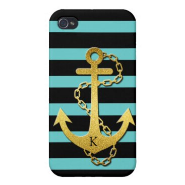Monogrammed Gold Anchor with teal & black stripes iPhone 4/4S Case