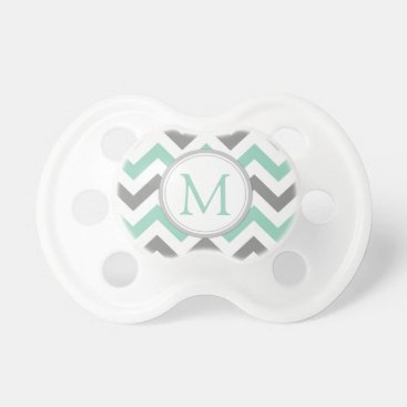 Monogrammed Mint Green and Gray Chevron Pattern Pacifier