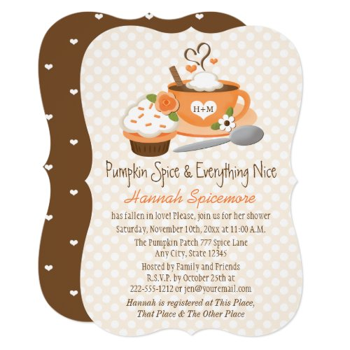 Monogrammed Pumpkin Spice Fall Bridal Shower Invitation