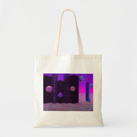 Monolith Quest, Abstract City Violet Tote Bag