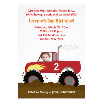 Monster Truck Photo Birthday Invitation (Red)