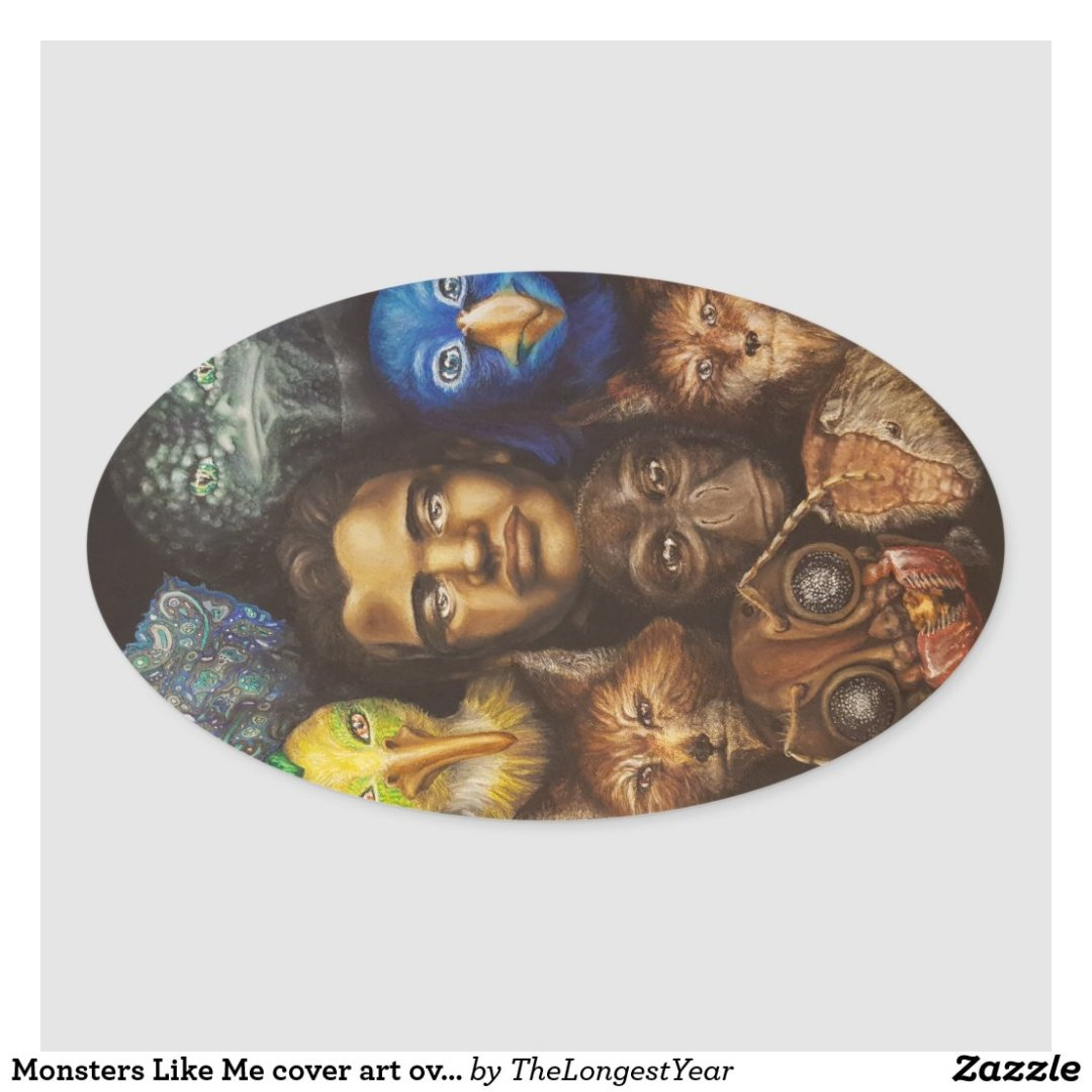 Monsters Like Me cover art oval sticker
