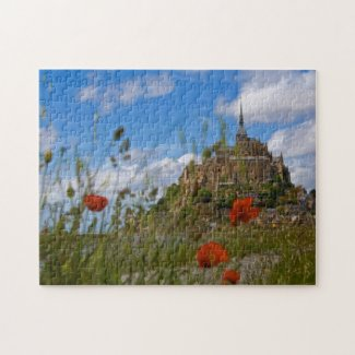 Mont St Michele through the poppies Jigsaw Puzzle
