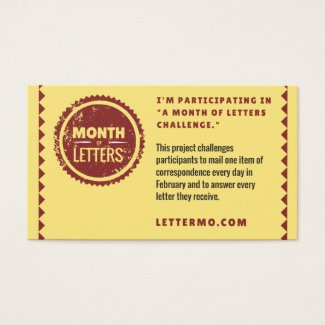 Month of Letters Challenge explanation card