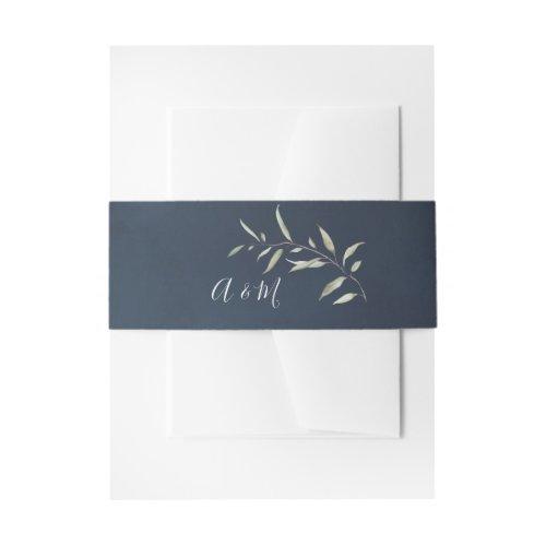 moody navy botanical greenery wedding monogram invitation belly band