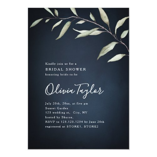 Moody navy greenery calligraphy bridal shower invitation