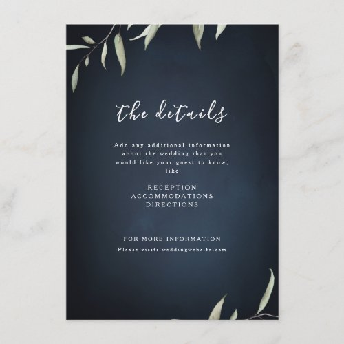 Moody navy watercolor botanical greenery wedding enclosure card