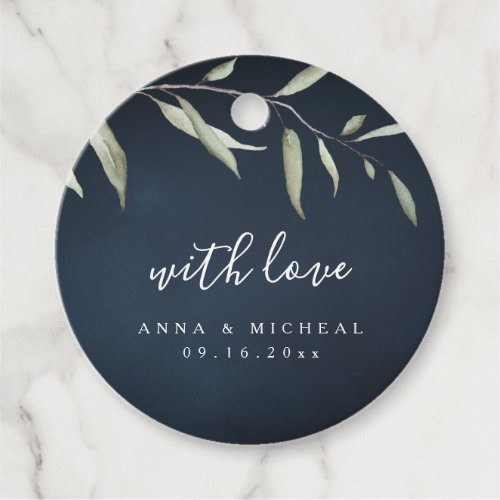 moody navy watercolor botanical greenery wedding favor tags