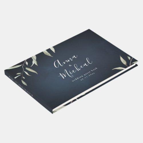 moody navy watercolor botanical greenery wedding guest book