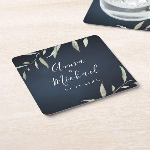 moody navy watercolor botanical greenery wedding square paper coaster