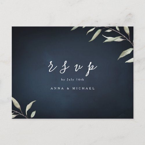 Moody navy watercolor greenery wedding RSVP Invitation Postcard