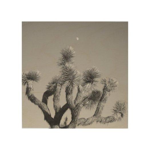 Moon Over The Joshua Tree Wood Wall Art