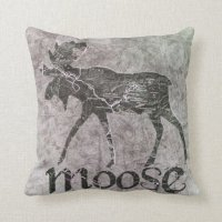 Moose Bull Throw Pillow